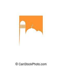 logotipo, mezquita, vector, plantilla