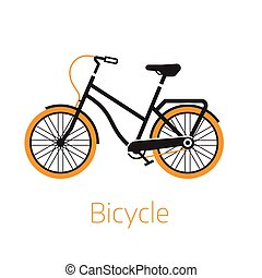 logotipo, o, plantilla, icono, bicicleta, calle, bw