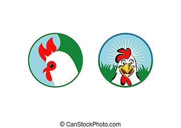 logotipo, o, pollo, gallo, dos, diseño, vector, tipo