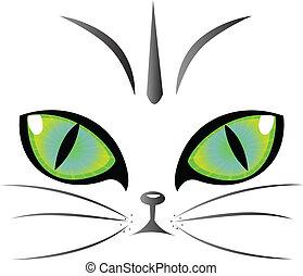 logotipo, ojos, vector, gato