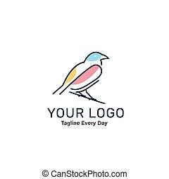 logotipo, pájaro, plantilla, diseño