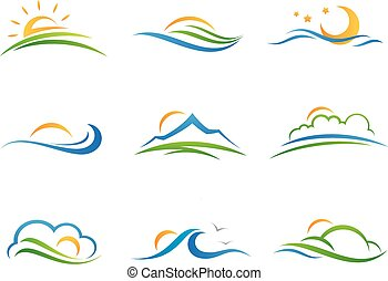 logotipo, paisaje, icono