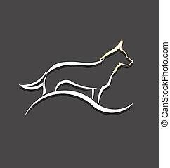 logotipo, perro blanco, imagen, diseñar
