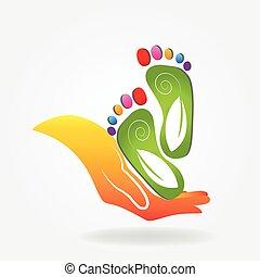 logotipo, pies, cuidado