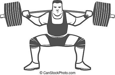 logotipo, powerlifting, rechoncho