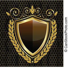 logotipo, protector, oro