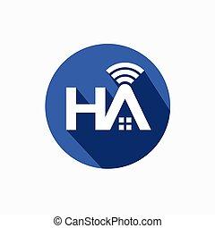 logotipo, red, hogar