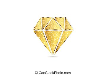 logotipo, remolino, oro, floral, diamante
