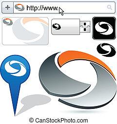 logotipo, resumen, gire, empresa / negocio, design.
