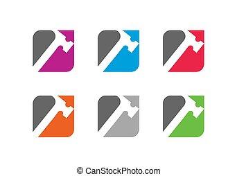 logotipo, servicios, símbolo, reparación, plantilla, factótum, carpintería, icono, diseño