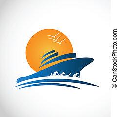 logotipo, sol, barco, ondas, crucero