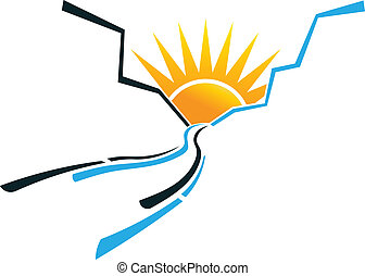 logotipo, sol, imagen, cañón, rastro
