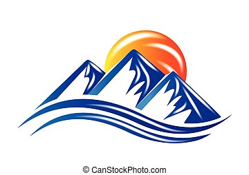 logotipo, sol, montañas, vector, brillante