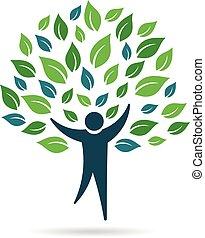logotipo, solo, árbol, gente