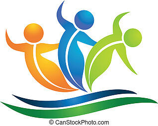 logotipo, swooshes, figuras, leafs, equipo
