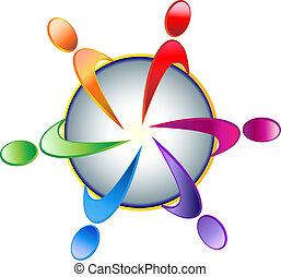logotipo, trabajo en equipo, comunidad
