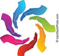 logotipo, trabajo en equipo, manos