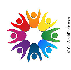 logotipo, trabajo en equipo, tarjeta, empresa / negocio