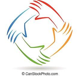 logotipo, unidad, trabajo en equipo, manos