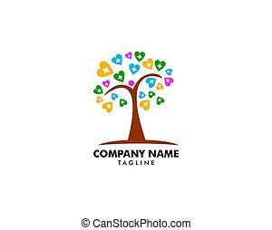 logotipo, vector, árbol, plantilla, hogar, salud