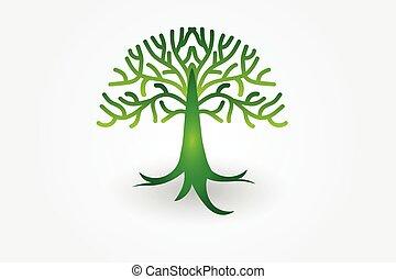 logotipo, vector, árbol, vida
