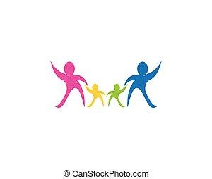 logotipo, vector, asistencia médica, familia