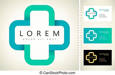 logotipo, vector, farmacia, médico, cruz