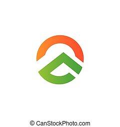 logotipo, vector, gradiente, montaña, geométrico, sol
