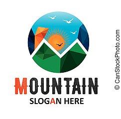 Logotipo vector solar de montaña