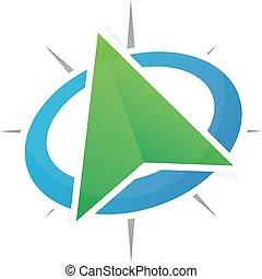 logotipo, vector, ubicación, gps