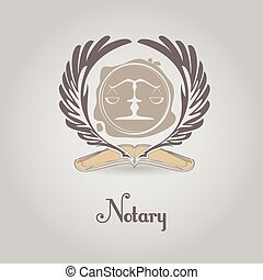 Logotipo vectorial para organización legal, notaria.