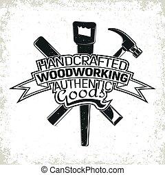 logotipo, vinatge, carpintería