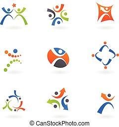 logotipos, 2, humano, iconos