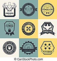 logotipos, deporte, condición física, gimnasio