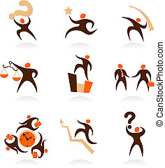 logotipos, gente, resumen, -, colección, 8
