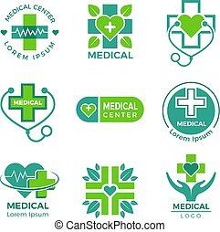 Logotipos médicos. Clínica de la farmacia de medicina o de hospital cruzado más vectores de salud símbolos de diseño de plantilla
