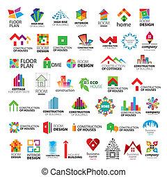 logotipos, vector, colección, mejora, construcción, hogar