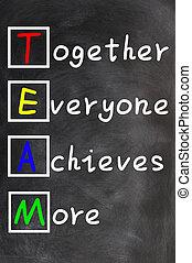 logra cosas, more), everyone, (together, siglas, pizarra, motivación, tiza, concepto, trabajo en equipo, equipo, escritura
