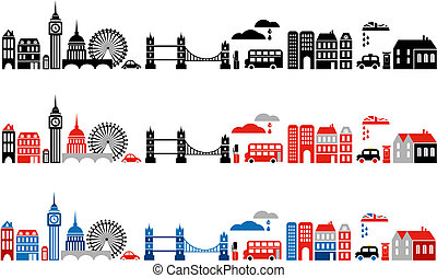 londres, ilustración, ciudad, vector