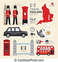 Londres, los íconos del reino unido diseñan el concepto de viaje