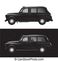 londres, símbolo, taxi negro, -, taxi
