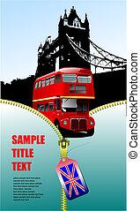 londres, vector, decker, imágenes, abierto, doble, cremallera, bus., ilustración