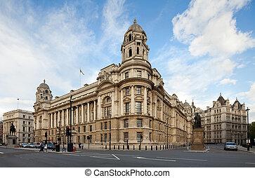 londres, viejo, oficina, whitehall, guerra, reino unido, edificio