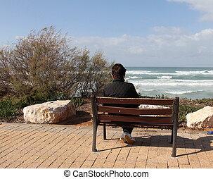 loneliness., mujer, solamente, sentado