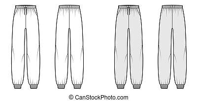 longitud, lleno, cintura, técnico, sweatpants, puños, subida, moda, elástico, plano, bajo, drawstrings., entrenamiento, ilustración