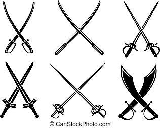 longswords, conjunto, espadas, sabres
