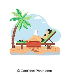 longue, playa, computadora, trabajando, chaise, freelancer, vector, sentado, computador portatil, niña, plano, feliz, ilustración