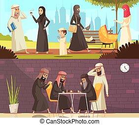 Los árabes hacen pancartas familiares