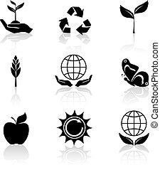 Los íconos de ecología se pusieron negros