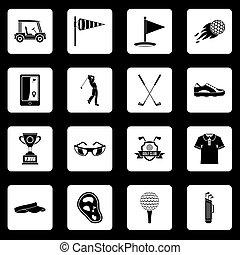 Los íconos de golf marcan vectores cuadrados